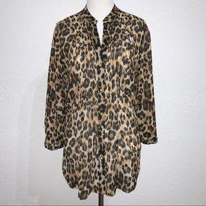 Cheetah Leopard Print 3/4 Sleeve Button Down Top